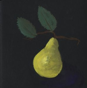 paper-mache pear-gouache and prismacolor